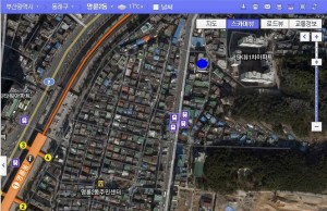 Dongnae GIFT ministry map from Myungnyundong subway station (go to blue dot)